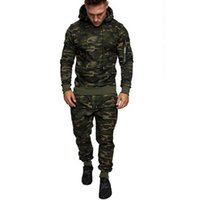 Mens Camouflage Spring Sports Sets Zipper Print Sweatshirt Top Pants Sets Sport Suit Tracksuit Male Clothing Running Fitness 2PC