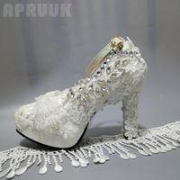 Women pumps shoe White lace luxury crystal silver rhionestones ladies bridal wedding shoes 11CM super high heels banquet shoe