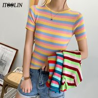 Женская футболка itoolin 2021 Женщины Rainbow Striped Tops Slim Fit Harajuku Tees Летняя Короткая рукава Вязаная футболка Женщина