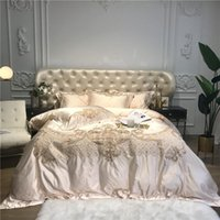 Luxus-Champagne blaue Silk ägyptischer Baumwolle Goldstickerei European Palace Bettwäsche Bettbezug Bettlaken / Bettwäsche Kissen-