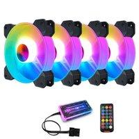 Coolmoon F-YH Coffret PC Ventilateur de refroidissement PC RGB Réglez 120mm Calme + IR Remote Nouveau Cooler RGB CPU Case Fan Four en One1