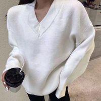 Новейший стиль моды осенью / зима 2020 - V-образным вырезом пуловер свитер, свободный и удобный свитер для женщин, без почтовой техники S / XL