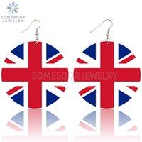 Dangle Chandelier Somesoor Reino Unido Bandeira Nacional Loops Gota De Madeira Brincos Britain Inglaterra Union Jack Design Cópia Para Mulheres Presentes