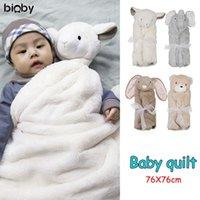 Bioby Niedliche Kaninchen Cartoon Baby Decke Neugeborenen Elefant Klimaanlage Quilt Samt Kissenbeebstoffkiefer Säugling Baby Bettwäsche Swaddle LJ201105
