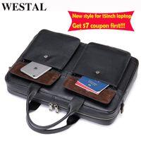 """WESTAL Qqiau For Genuine Luxury Bag Tote Bandoulière Computer Satchel Document Men Laptop Sacoche Briefcase Leather 15.6"""" Male Patij"""