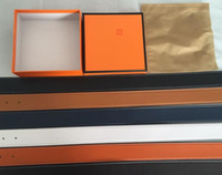 شحن مجاني بالجملة betls جديد 2020 أحزمة رجل إمرأة حزام جلد طبيعي الذهب الأسود + الفضة مشبك مع مربع برتقالي