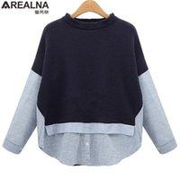 AREALNA Autumn Sweatshirt Frauen Stil Gestreifte Patchwork Navy Pullover Lose Beiläufige Hoodies für Frauen plus Größe XL-5XL 201216