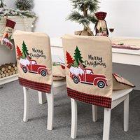 Рождество Назад Председатель Обложка плед Грузовик Столовая чехлы на стулья для Xmas Банкетный кухня Столовая Decor JK2010XB
