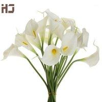 20 adet / grup Calla Lily Yapay Çiçek PU Gerçek Dokunmatik Ev Dekorasyon Çiçekler Düğün Buket Dekoratif Çiçekler XZ0141