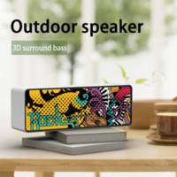 F2 sans fil Bluetooth haut-parleur étanche Colonne Portable Subwoofer Haut-parleur stéréo 3D Digital Sound Graffiti extérieur Soundbox