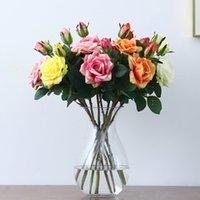 2 Head Artificial Rose Edge Curl Simulación Rosa Flor Boda Decoración del hogar Flower Flower Valentine's Day Regalo 13 Color T9I001011