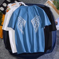 Angel Wings Stampato manica corta T 2020 Estate Fashion Mens Rock Tshirts Casual Rapper Uomo Glow Tee Shirt Abbigliamento da uomo
