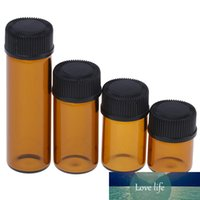 1pc 1/2/3/5 ml Bernstein Mini Mehrweg-Glas Reagenzien Ätherisches Öl Probenflasche Brown Glasflaschen mit Cap Hot Sale Flasche