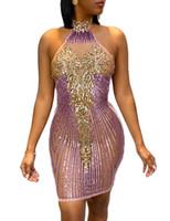 Pailletten Panelled Womens Designer-Kleider reizvolle Halter-Streifen-Muster Backless Frauen Abendkleider beiläufige Frauen Kleidung 1pcs