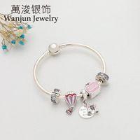 Charm Armbänder Wanjun Schmuck 100% 925 Sterling Silber Sweet Travel Armband Set Romantische Elegant -Aile Ballon Geschenk1