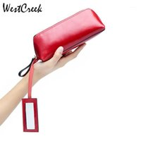 Westcreek Marke Echtes Leder Kosmetiktasche Tragbare Weibliche Öl Wwax Leder Makeup Tasche Armband Große Kapazität Clutch1
