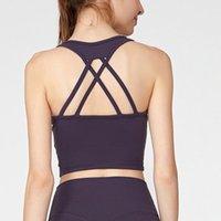 Camisoles tanques yogaworld mulheres underwears volta recolhimento de ioga sutiã cor sólida colete fitness esportes underwear preto