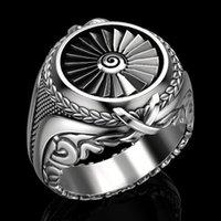 Nouvelle arrivée Creative anneau de turbine en métal lourd argent rétro européenne vintage et des hommes de style punk américain bijoux bague plaqué