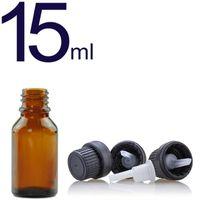 Botellas de vidrio para aceites esenciales 15 ml Botella de ámbar vacío recargable con redúcido de orificio Dropper y tapa Suministros de bricolaje Accesorios de herramientas