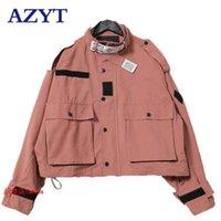 AZYT Урожай Streetwear Осень ветровка пальто Лоскутной Негабаритная куртка Женской Весна Женского Короткий BF Harajuku Short Jacket