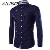 Ailooge 2021 Yeni Moda erkek Gömlek Sıcak Satış Rahat Slim Fit SOILD Renk Fermuar Gömlek1