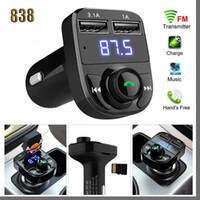 838D X8 FM Verici AUX Modülatör Bluetooth Handsfree Araç Kiti Araba Ses MP3 Çalar ile 3.1A Hızlı Şarj Çift USB Araç Şarj Accessorie