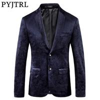 Pyjtrl Erkek Retro Vintage Donanma Mavi Çiçek Baskı Rahat Kadife Blazer Homme Tasarım Casacas Erkekler Ceket Slim Fit Suit Ceket 201123