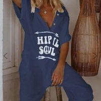 Lyge Hip Soul Print Overall Frauen Übergroßes breites Bein V-Ausschnitt Weibliche Strethe Sommer Streetwear Lose Plus Size Dame Overalls1