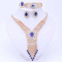 Juegos de joyería nupcial de la boda de las mujeres Dubai Granos africanos Juegos de joyería Collar Collar Pendientes Pulsera Pulsera Accesorios de cristal
