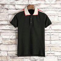Горячая весенняя лето дизайнерская одежда для мужской полосовой классический стиль пэчворк цветной вышивка буква футболка повседневный поворотный воротник TEE шир