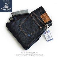 Saucezhan 310xx-JP Япония Окамама ткань Selvedge джинсы джинсовые джинсы немытые синие Япония Slim Fit Men1