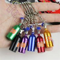 Kadınlar Erkekler Benzersiz Mini Anahtarlık için NOS Turbo Azot Şişe Metal Anahtarlık Anahtarlık Tutucu Araç Anahtarlık kolye Takı