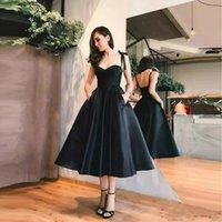 2021 simple cheap little black dresses short prom dresses cocktail dresses robes de mariée tea length