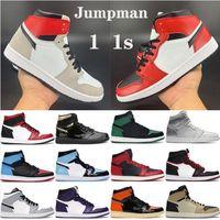 Jumpman Men Баскетбольные туфли 1 Высокий OG 1S Дешевые запрещенные обсидианские unc Игра Королевская атлетика Кроссовки Топ 3 Мужские Спортивные Тренеры Размер 5-12 С Кородом