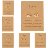 Moda 12 Pendientes de la constelación de la Mujer, signo del zodiaco joyería de acero inoxidable Astrología Leo Libra Aries Pendientes de oro regalo de las mujeres