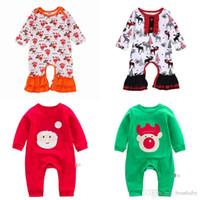 Christmas Baby Jumpsuits Criança Meninos dos desenhos animados Turquia Snowman Romper crianças Lersure Roupa infantil Meninas Ruffle Carta Onesies Outfits