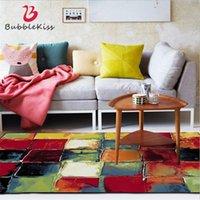 Bubble Kuss Abstrakte bunte quadratische Muster Teppiche für Wohnzimmer Wohnkultur Sofa Tischstuhlbereich Teppiche Anti-Rutsch-Bodenmatte