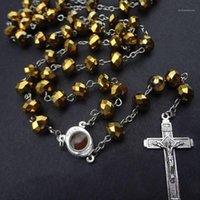 Pendentif Colliers Qigo Grand Crystal Cross Collier Rosaire Trong Religieux bijoux1