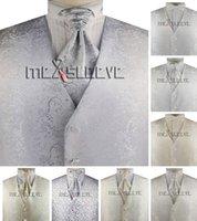 Adam Takım Elbise Yelekler erkek Mikrofiber Lurex Gümüş İplik Çiçekleaf Tasarım Resmi Casual Yelek Seti