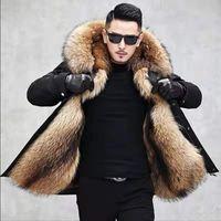 Hiver hommes vêtement chaud fourrure de raton laveur imitation Veste en fourrure Parkas hommes Parkas Liner Vestes Homme à capuchon résistant au froid