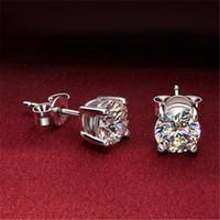 지르콘 다이아몬드 스터드 귀걸이 실버 크리스탈 여성 웨딩 귀 반지 패션 쥬얼리 선물 의지와 모래