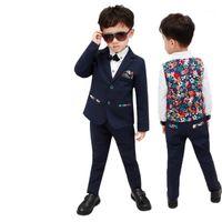 2-12t Kinderjacke Weste Hosen Hochzeit Smoking Anzug Kinder Geburtstagskostüm Blume Jungen Formale Blazer Prinz Kleidung Set1