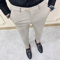 Повседневный Slim Fit Мужские платье костюм брюки Уличная 34 высокого качества Джентльмены Офис Брюки Мужчины все Match Длина лодыжки Q1110