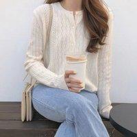 Белаарст весна и осень Новый ледяной шелковый кардиган женский круглый шеи свитер свободный полый вязать нижнее покрытие свитер 201202