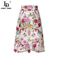Ld linda della 2018 модные взлетно-посадочные посылки женские высокие талии элегантные винтажные кружевные цветы вышивка повседневная юбка Femme1
