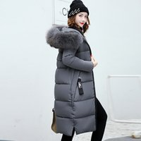 Jacket Anbenser Inverno Mulheres Long Parka Pele Casual Collar Magro Mulher Coats e soprador Jacket Brasão Plus Size 201027 acolchoado Outwear Longo