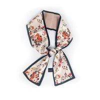 الأوشحة النساء زهرة مطبوعة تصميم الحرير وشاح صغير مقبض حقيبة الشريط أغطية الرأس طويل نحيف الفولار فام