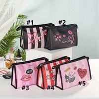 الأزياء بو المرأة رسائل الحب القلب الطباعة حقيبة مستحضرات التجميل الفتيات السيدات أكياس ماكياج سستة حقيبة يد متعددة الوظائف غسيل حزمة حمل G12104