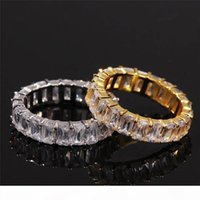 Hip-hop oro bianco 18k Anello Giallo placcato Grande Finger Zircon Uomini di Anelli Hot New Model