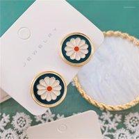 Coréen petite marguerite fleur goujon boucles d'oreilles 2020 simples boucles d'oreilles en émail géométrique pour femmes bijoux de mode Tous correspondent cadeaux1